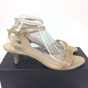 Pelle Moda Gold Crystal Heels with Ankle Strap